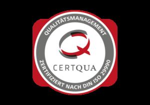 Logo - CERTQUA - Zertifiziert nach DIN ISO 29990 - Partner der Ibeda Akademie Köln